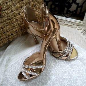 """SEXY Sparkly 5"""" ROSE Gold STRAPPY Heels By Cupid"""
